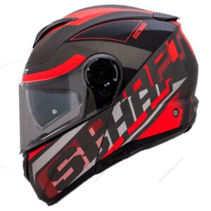 CASCO SHAFT GRIS BRILLO ROJO