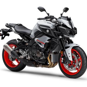 Moto deportiva negra con plateado y rojo