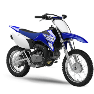 Moto de motocross y enduro negra con azul y blanca