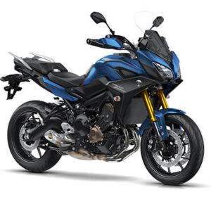 Moto deportiva negra con azul y dorado