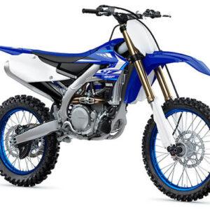 Moto de motocross y enduro negra con azul y blanco