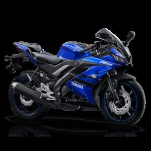 Moto super deportiva negra con azul rey