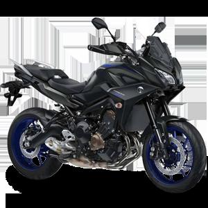 Moto deportiva negra con azul oscuro