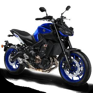 Moto deportiva negra con azul y plateado