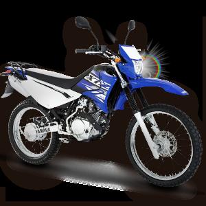 Moto todoterreno azul con negra y blanco
