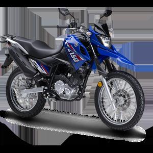 Moto todoterreno azul con negra